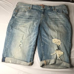 Lucky Brand Womens Shorts Distressed Blue 18W